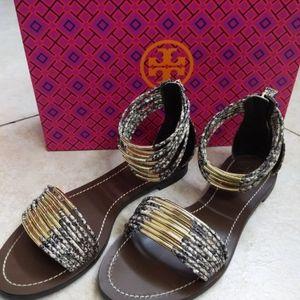 Tory Burch: Mignon Ring Snakeprint Sandals